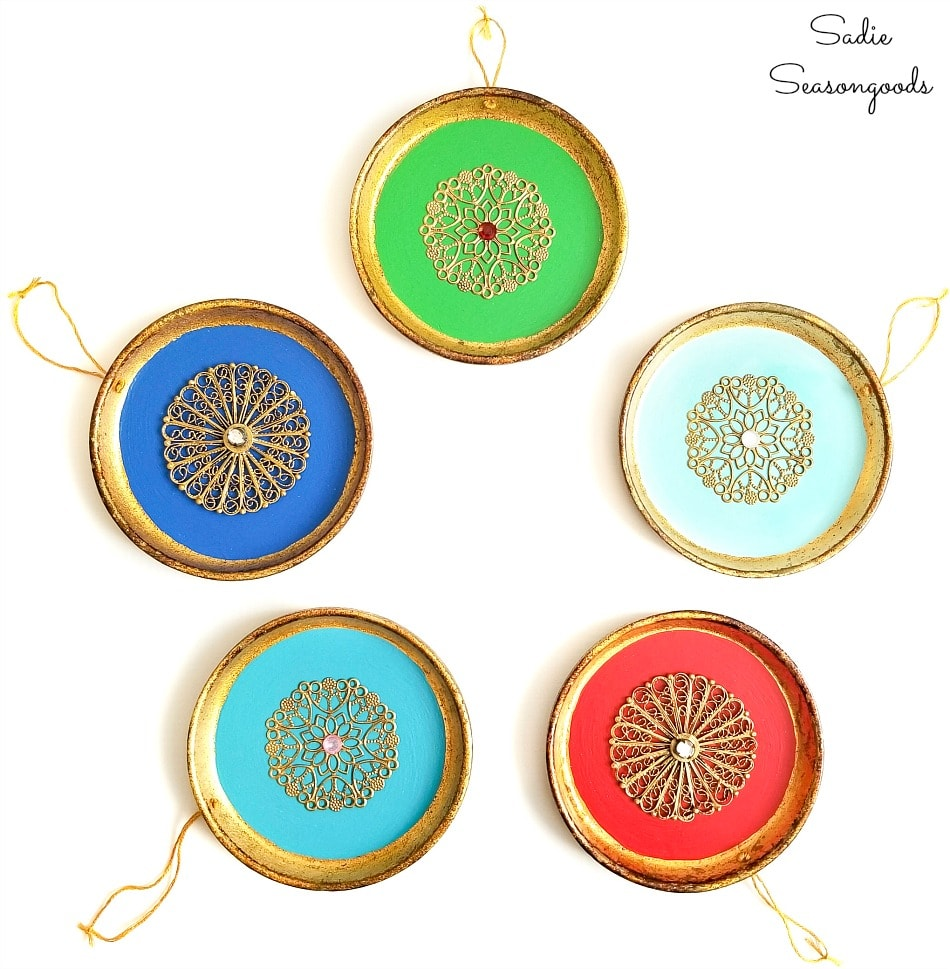 Exotic ornaments from a wood coasters set