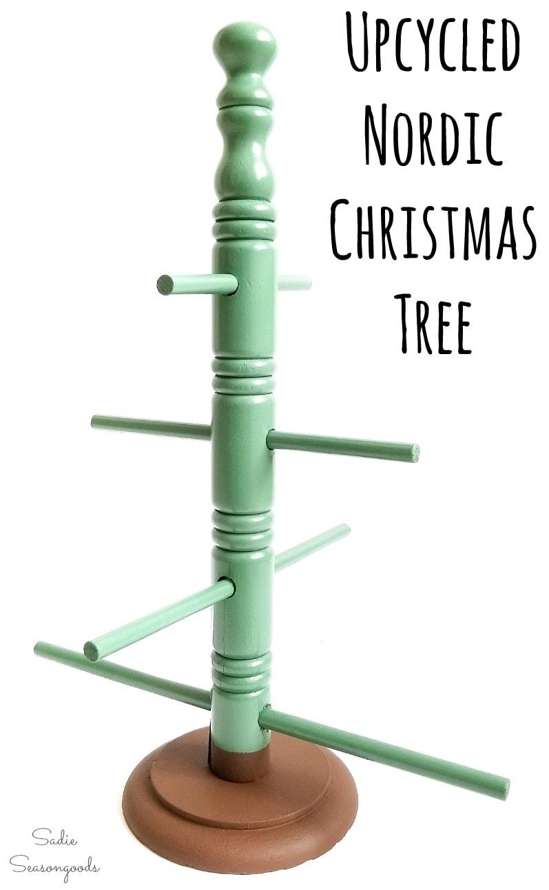 Repurposing a coffee mug tree as a Scandinavian Christmas tree