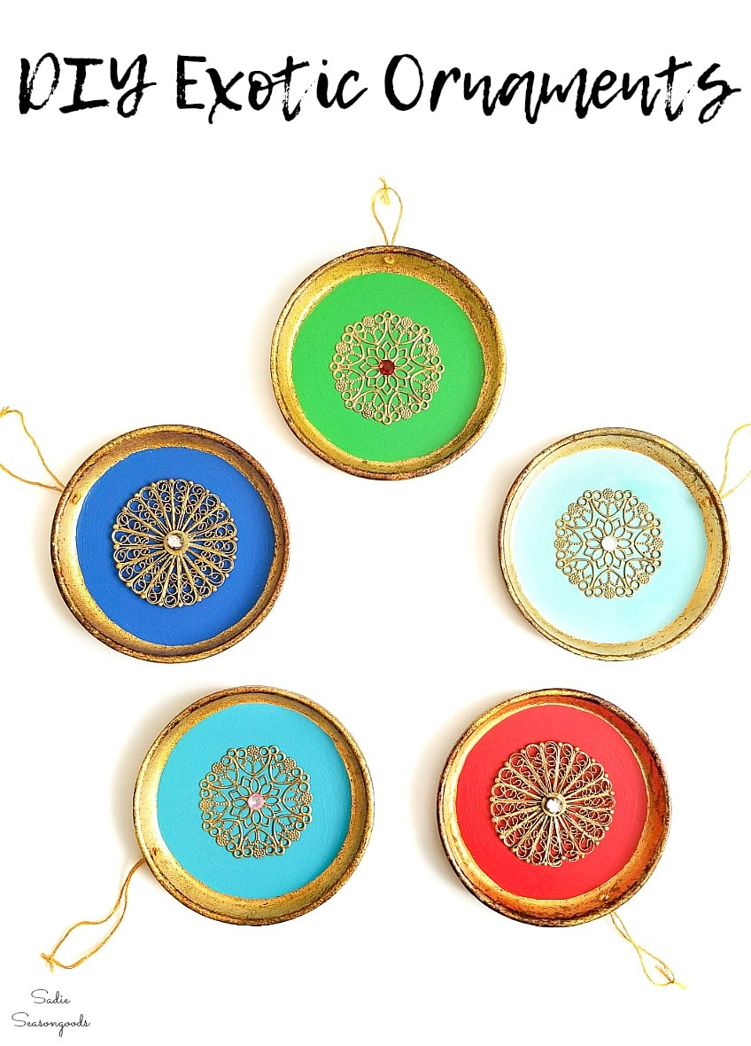 Upcycling the wood coasters into exotic ornaments