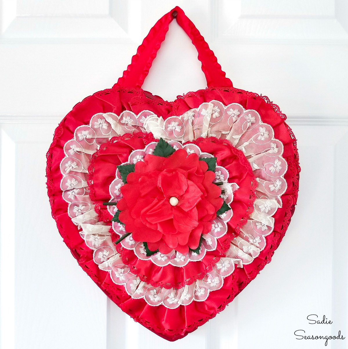 Valentine's Day Wreath with a Chocolate Heart Box