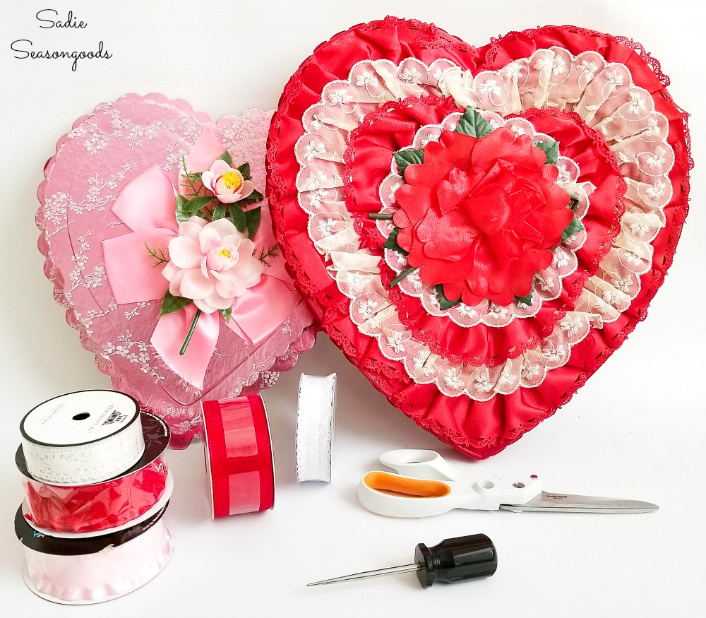 Upcycling a chocolate heart box into a heart wreath for Valentine's Day decor