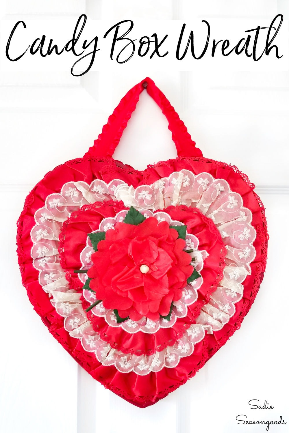 Valentine's day wreath from a heart shaped candy box