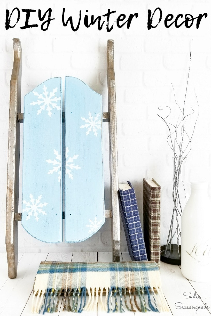Winter decorating with wooden sled decor