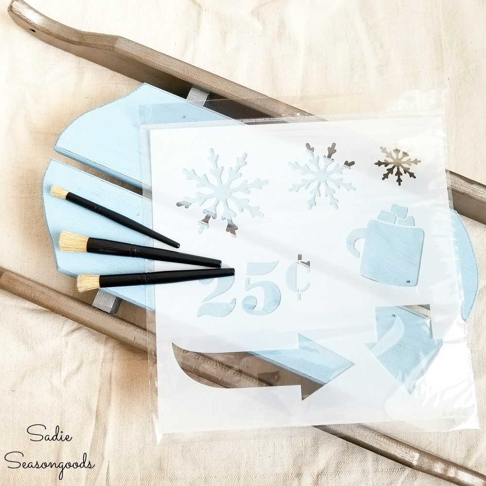 Winter stencil to use on wooden sled decor