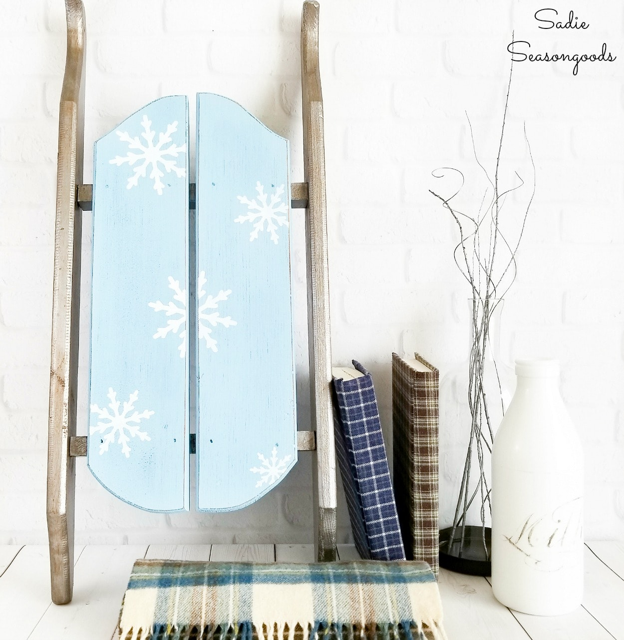Wooden Sled Decor for Winter Decorating