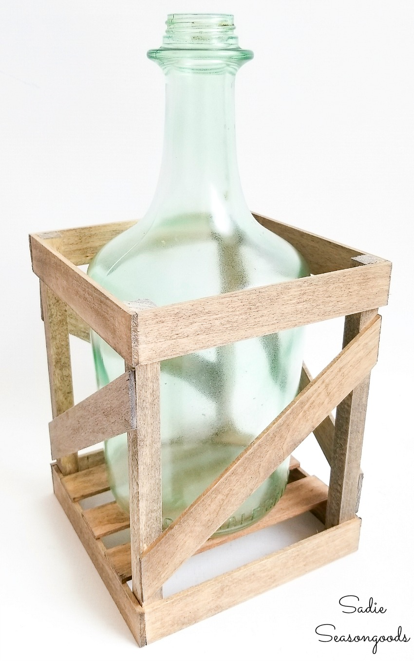 Glass bottle crafts for French country decor with a demijohn vase