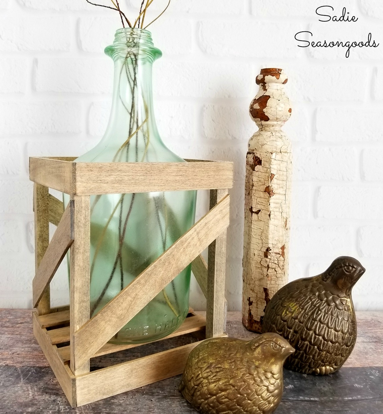 Demijohn Bottle in a Crate for French Farmhouse Decor