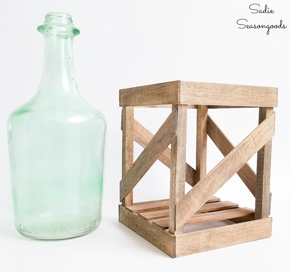 Making a demijohn vase with a wooden crate from empty wine bottles