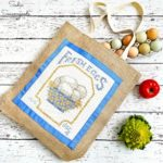 Upcycling a Counted Cross Stitch with a Reusable Shopping Bag