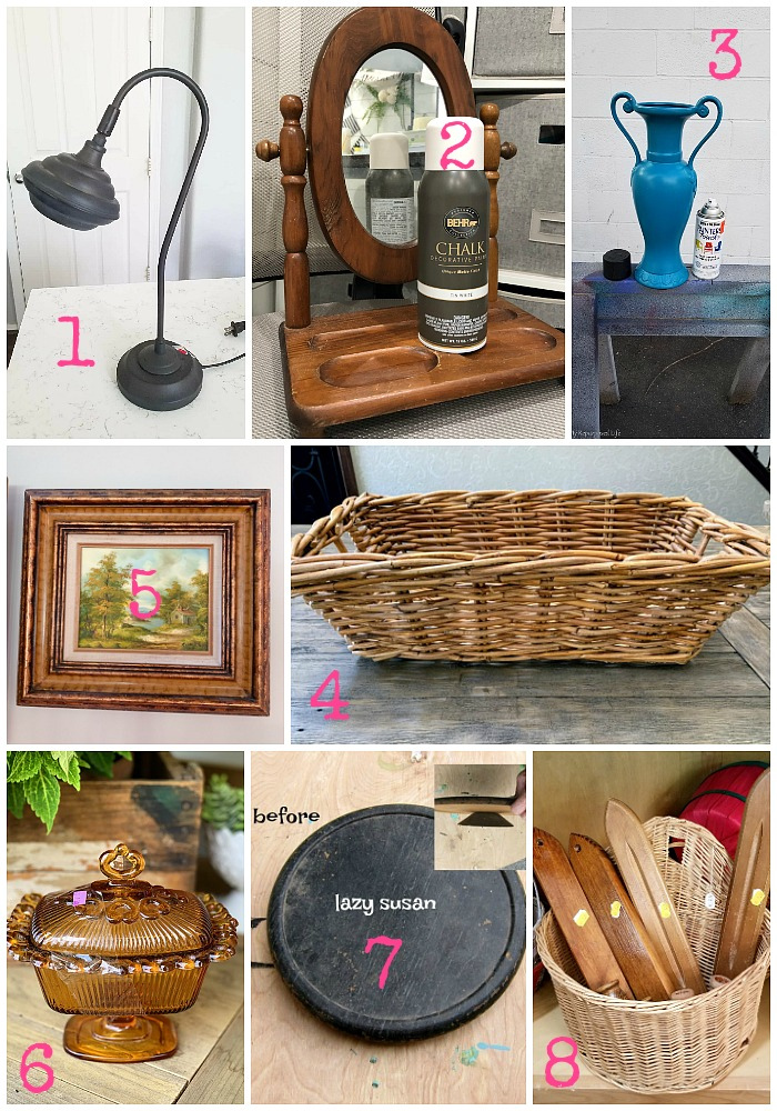 Thrift store makeovers and upcycling ideas from the best repurposing bloggers around - Thrift Store Decor Team in August 2019