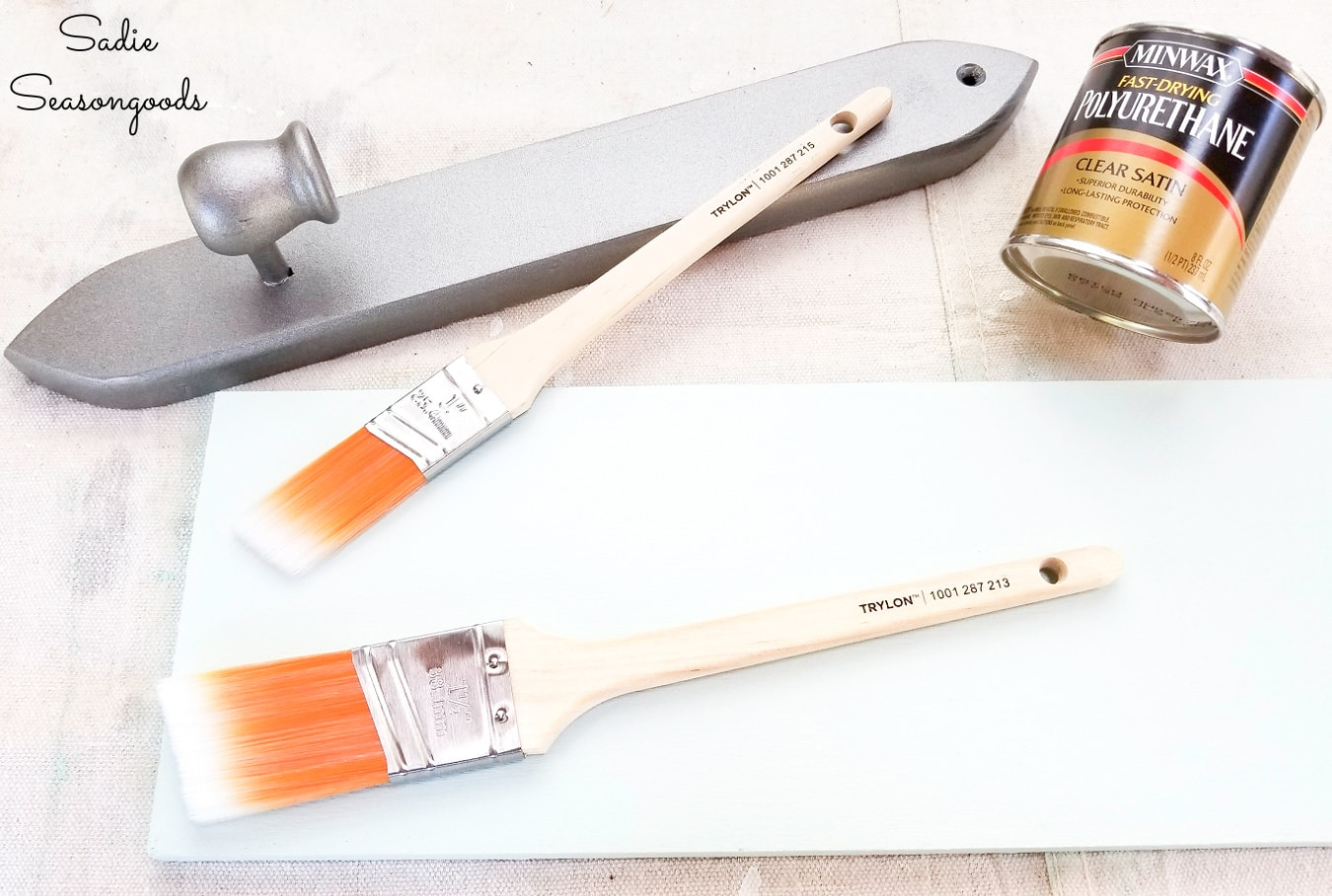 Brush on top coat for a DIY towel rack