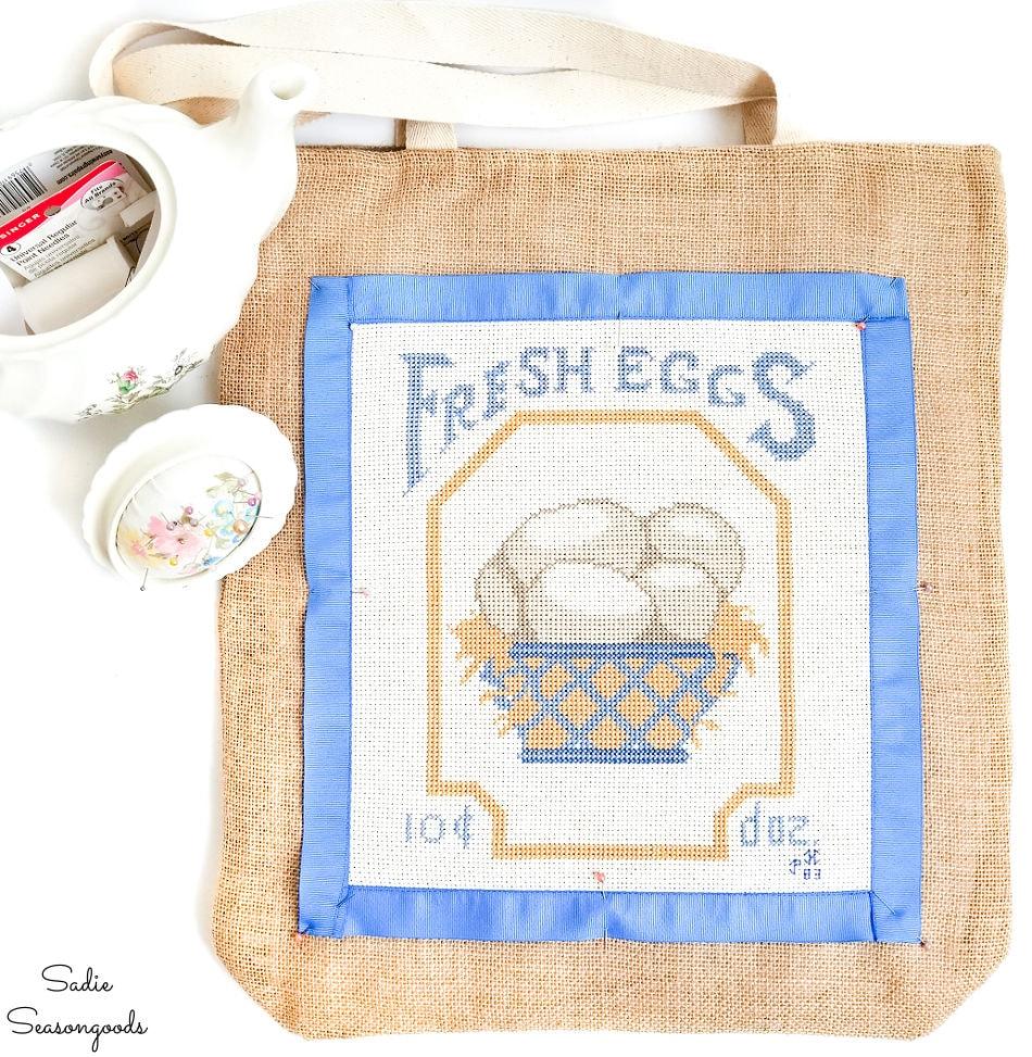 vintage cross stitch on a burlap tote bag