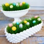 Hobnail Milk Glass and Specked Eggs as Easter Decor
