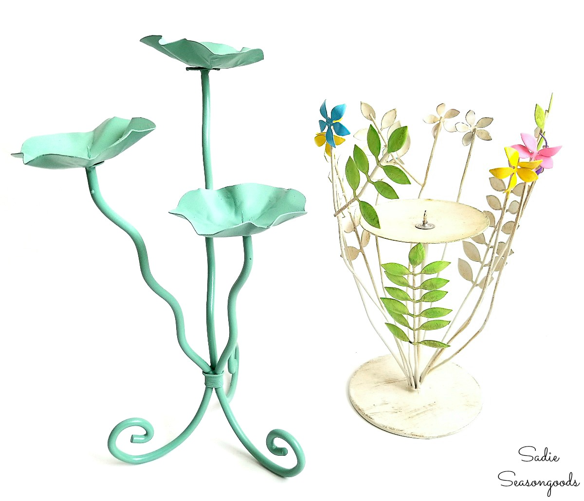 Metal candleholders from the thrift store that are painted for Spring decor