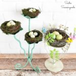 Nest Decor for Spring with a Metal Candleholder