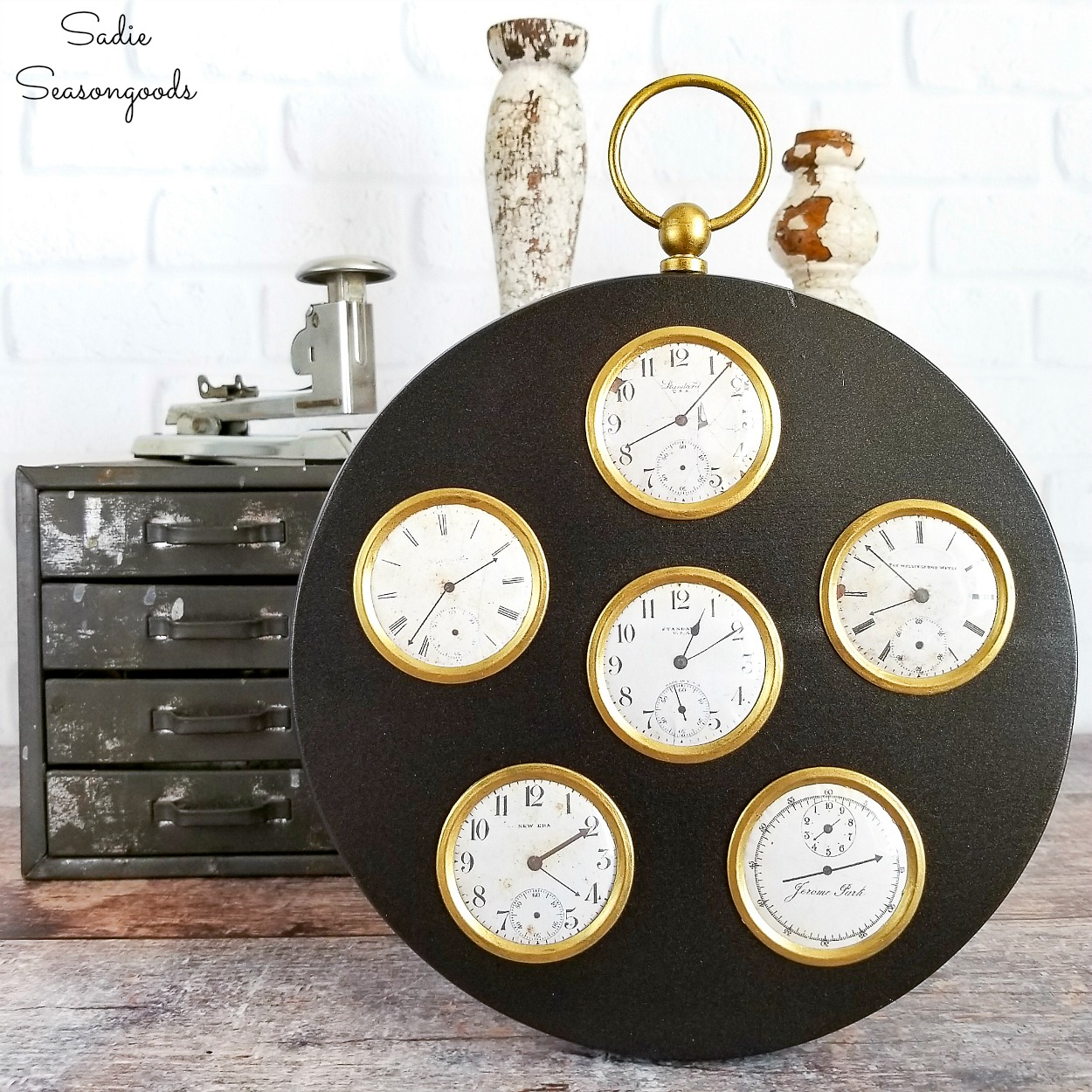 Steampunk wall art or industrial home decor by upcycling a picture frame into a vintage pocket watch