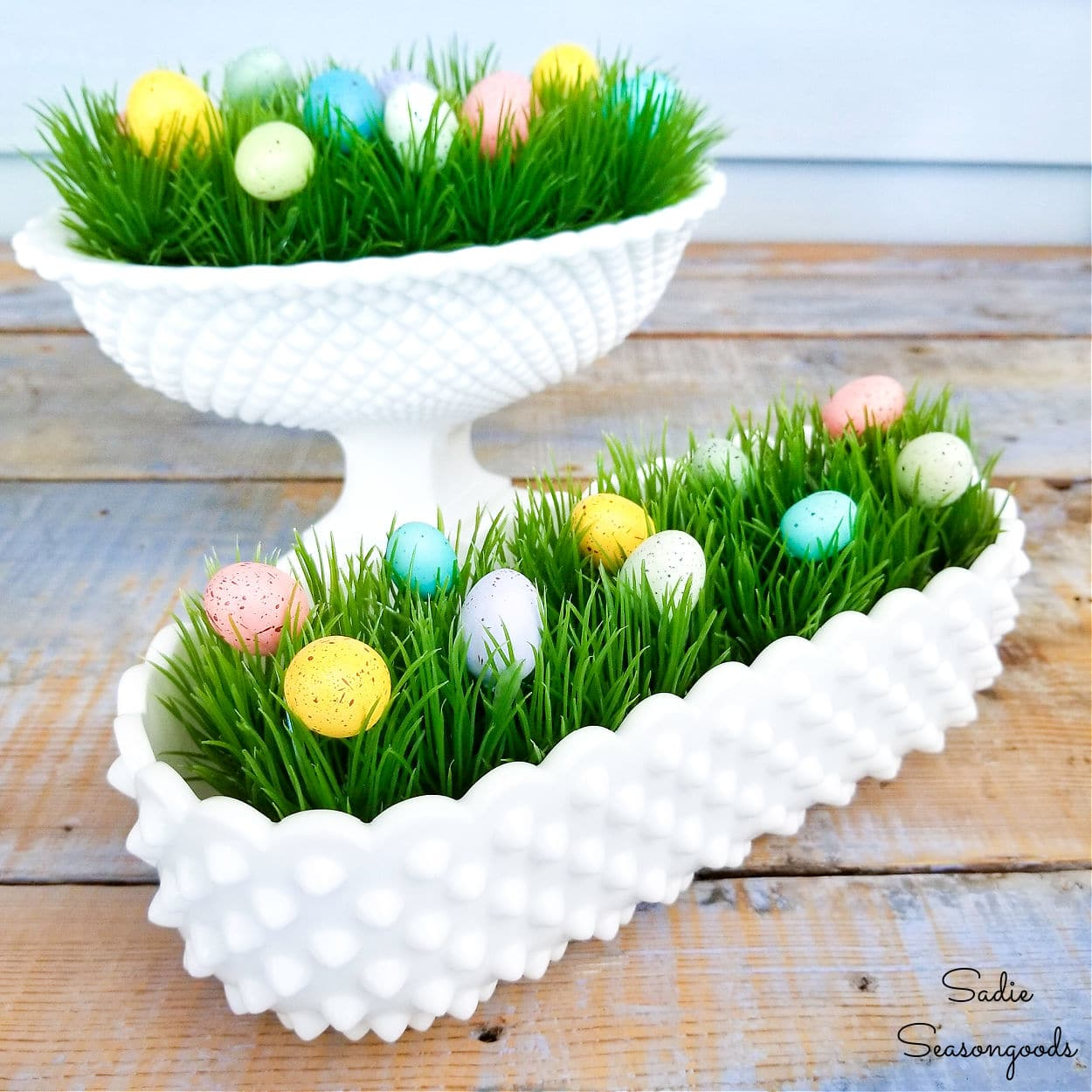Decorating with Hobnail Milk Glass for Easter