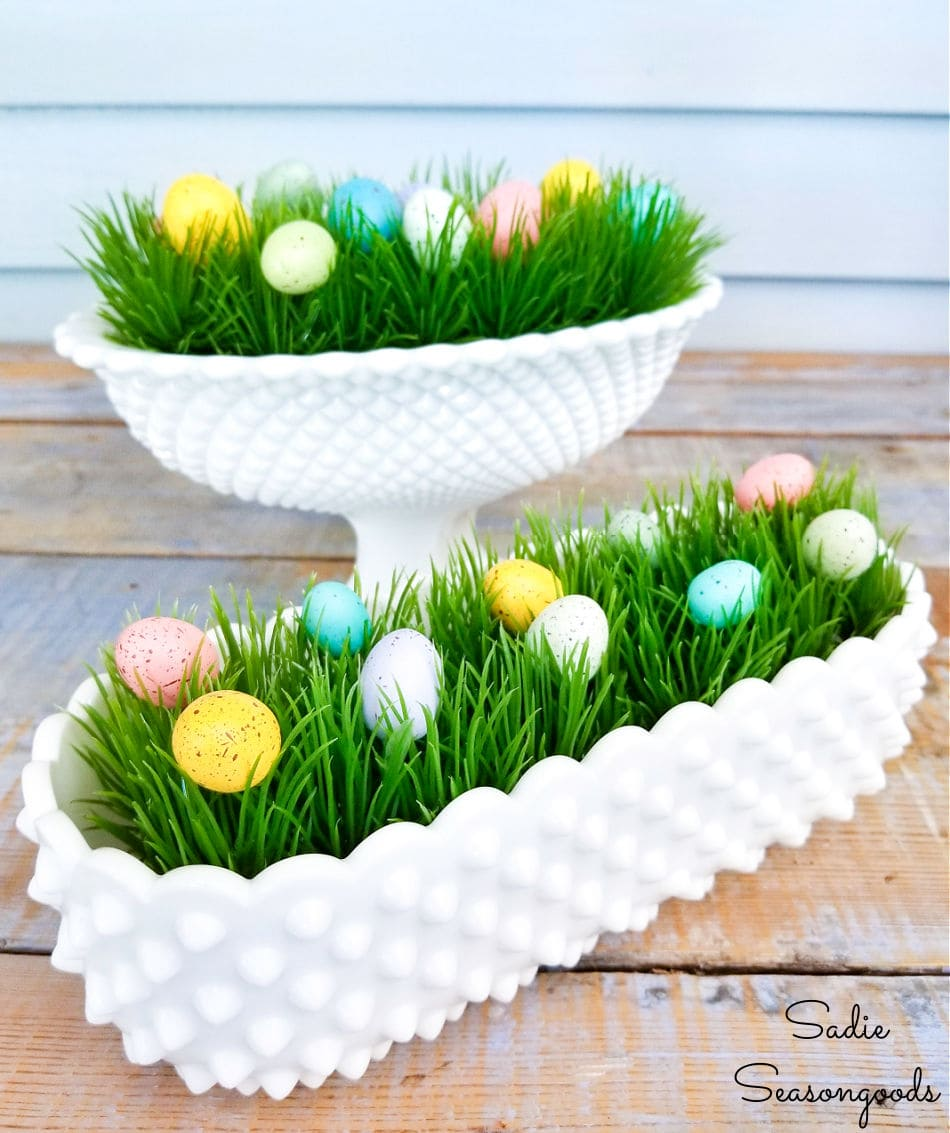 Easter decor with milk glass dishes