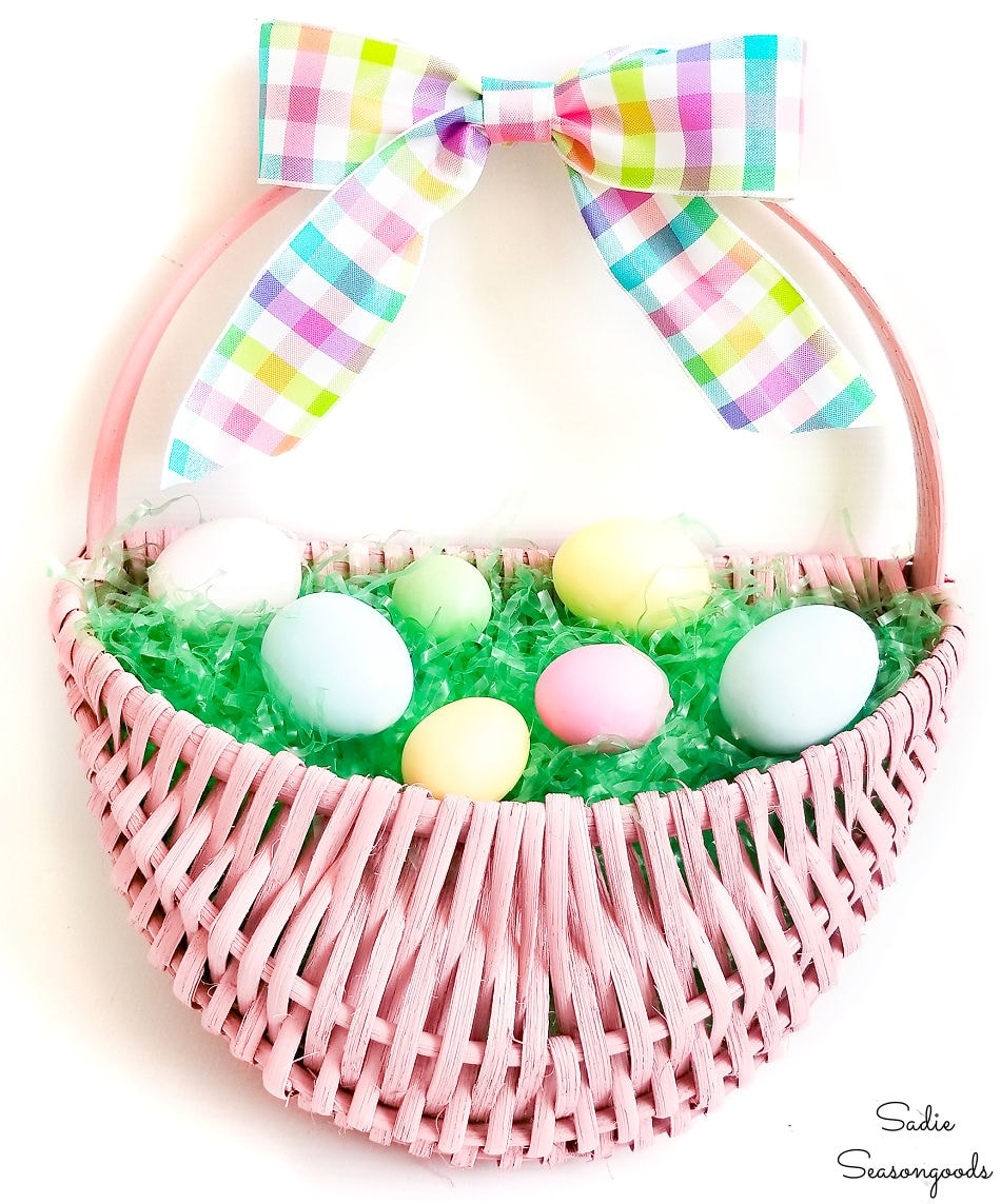 easter door decorations from a hanging basket