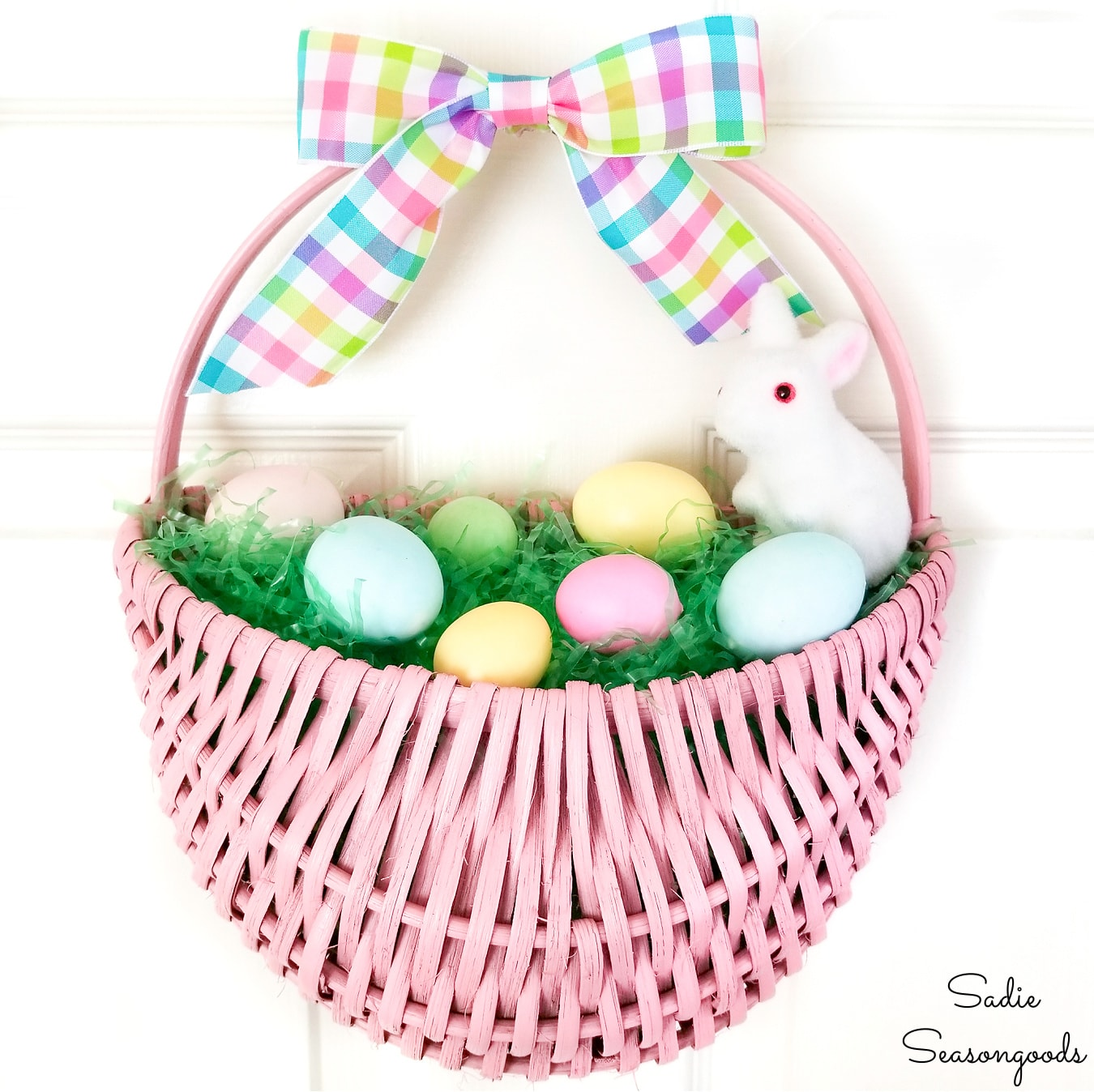 Easter Door Decorations with an Easter Basket Wreath