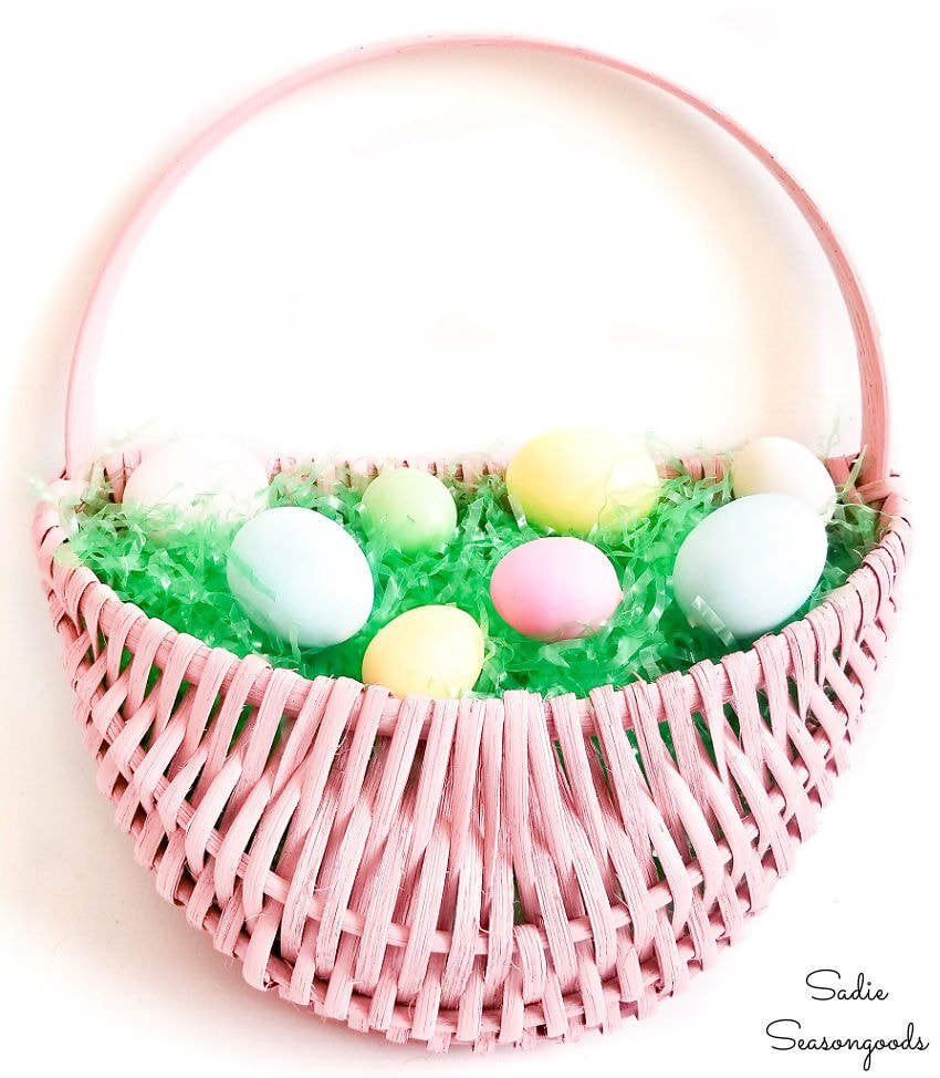 making an easter basket wreath