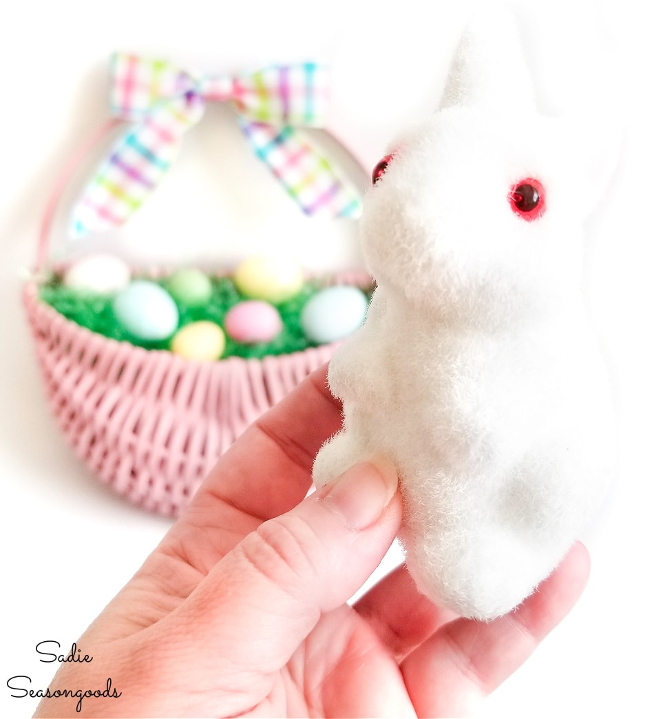 vintage flocked bunny for Easter basket wreath