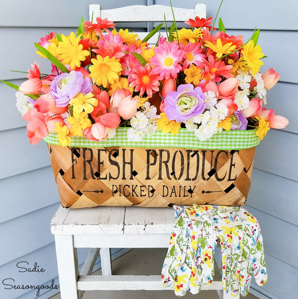 Spring Porch Decor with a Harvest Basket