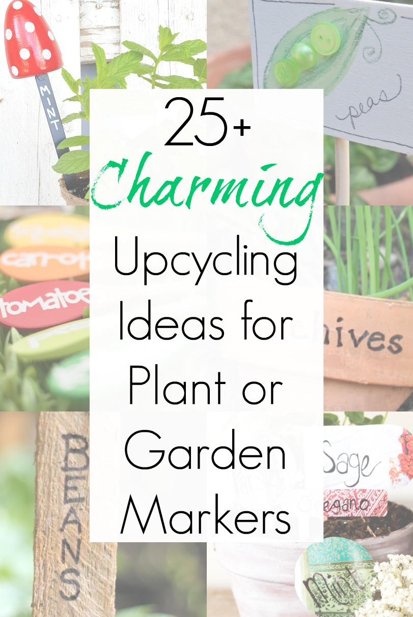 Garden markers or plant tags as upcycled garden ideas