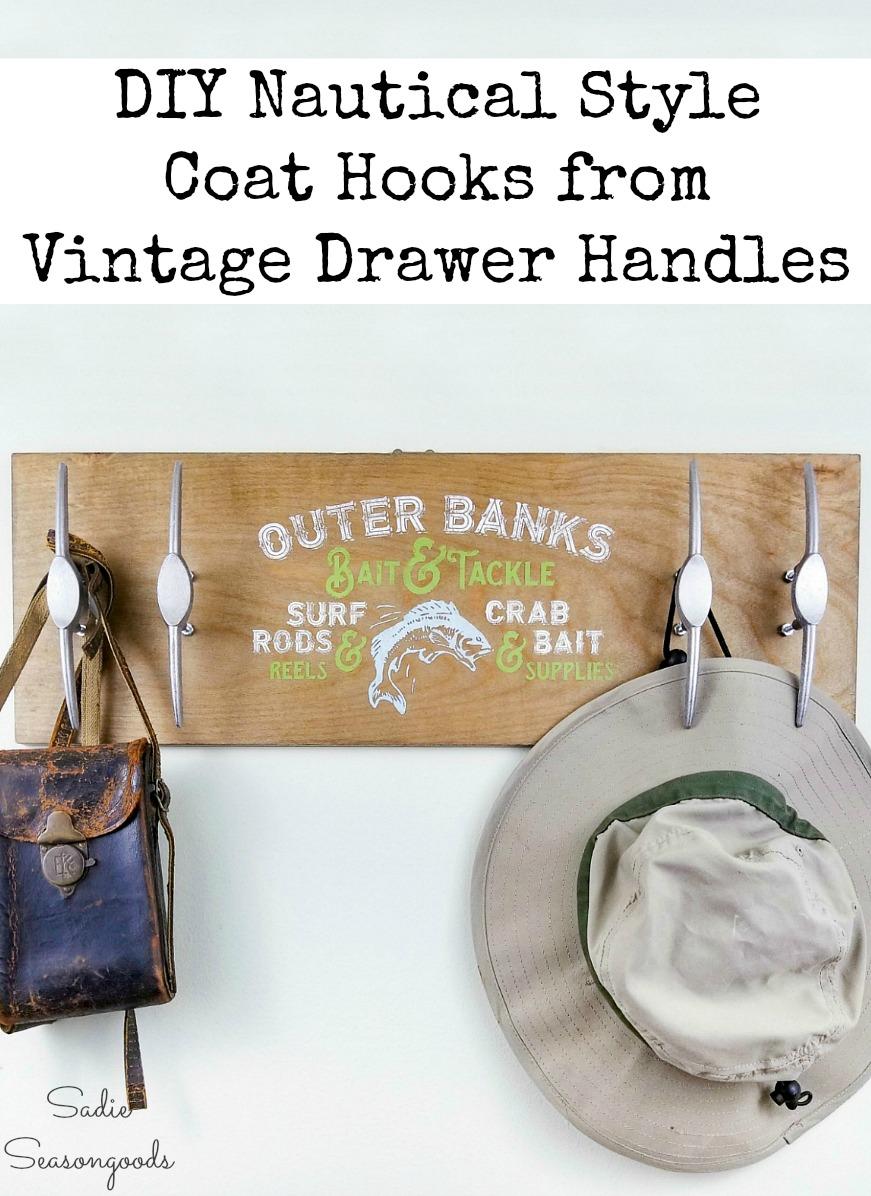 Vintage hardware as nautical hooks for coastal wall decor