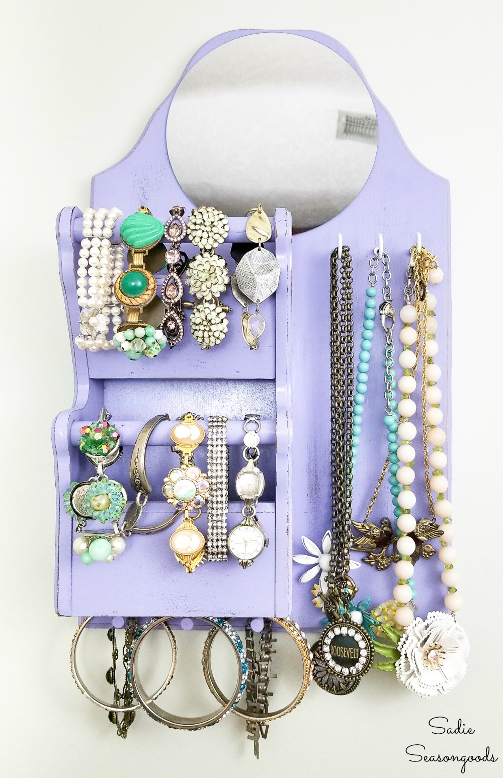Dorm room storage or apartment storage with a DIY jewelry hanger