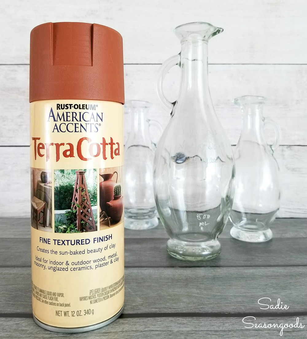 Spray paint for glass and painting glass with terracotta spray paint