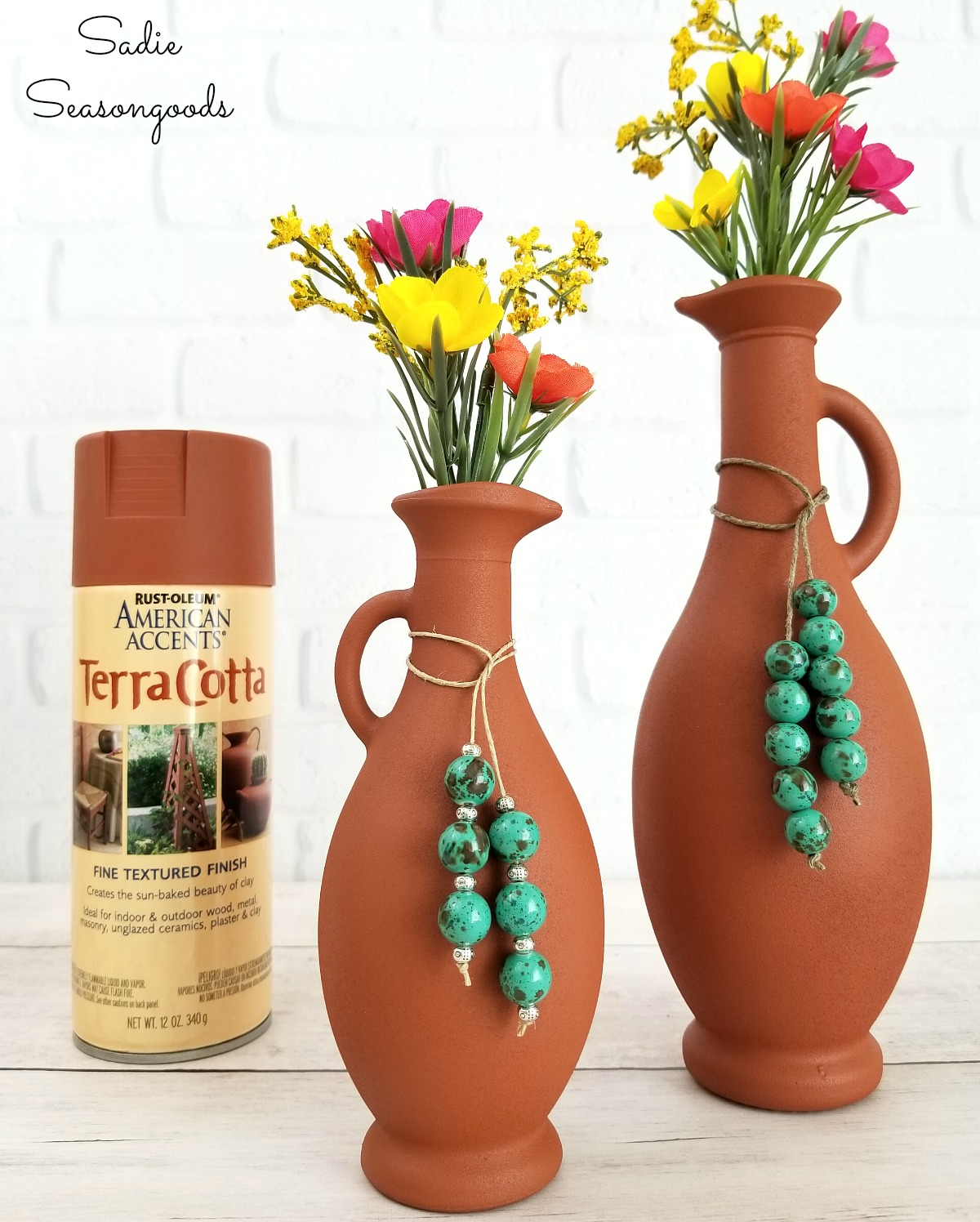 Spray paint for glass or terracotta vase for painting glass to upcycle into southwestern decor by Sadie Seasongoods
