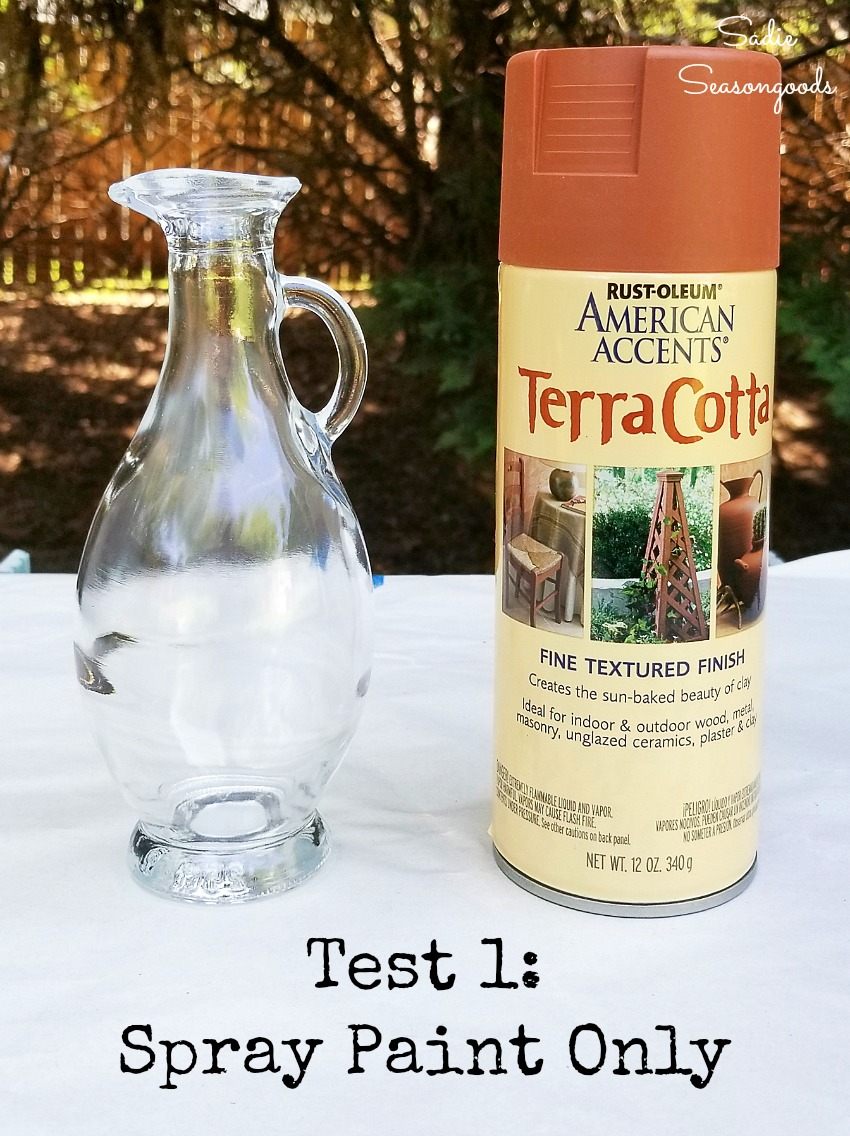 Spray paint for glass with terracotta paint to use as southwestern decor