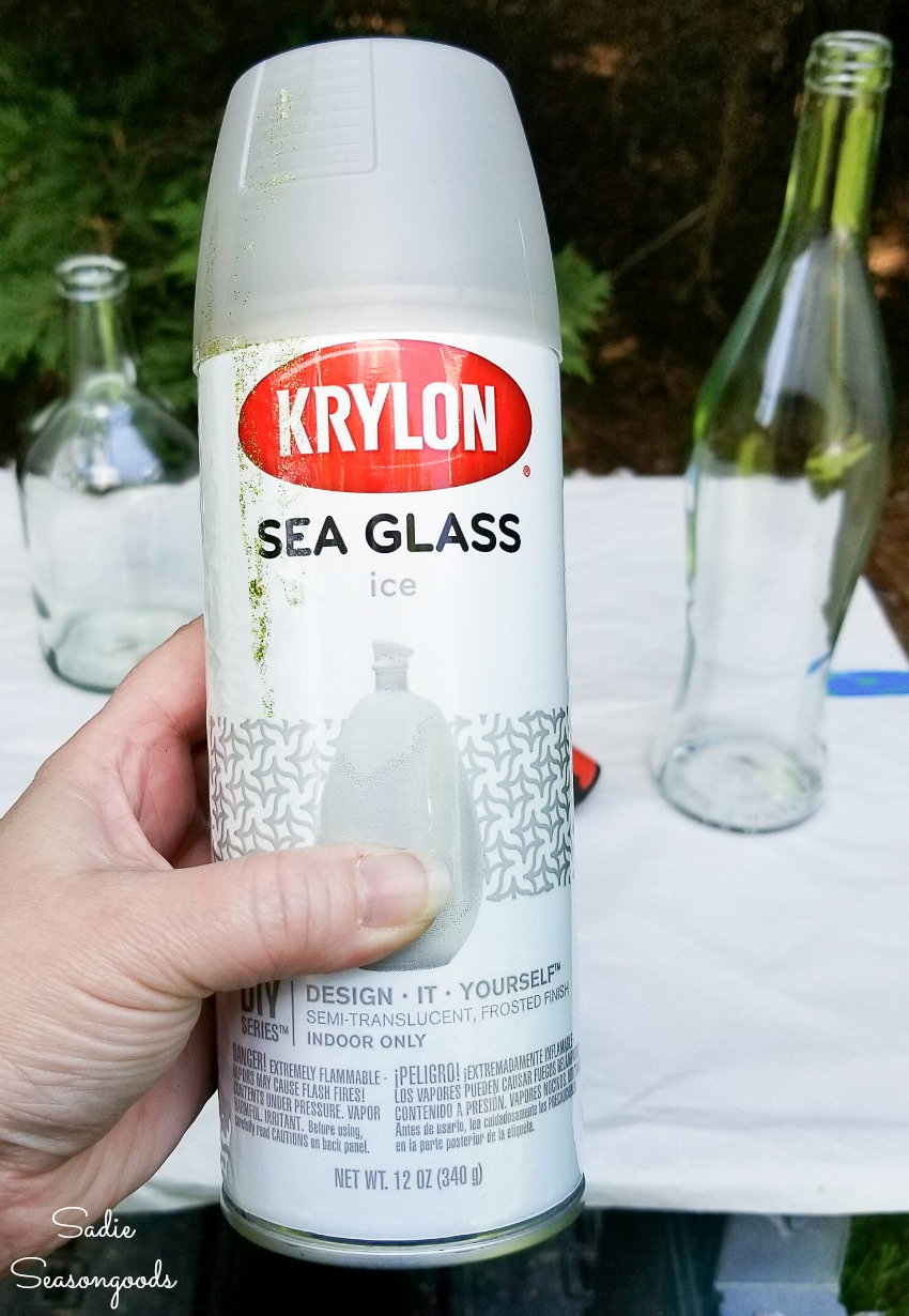 Weathering glass with sea glass spray paint