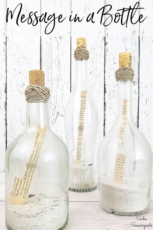 reuse wine bottles as diy message in a bottle