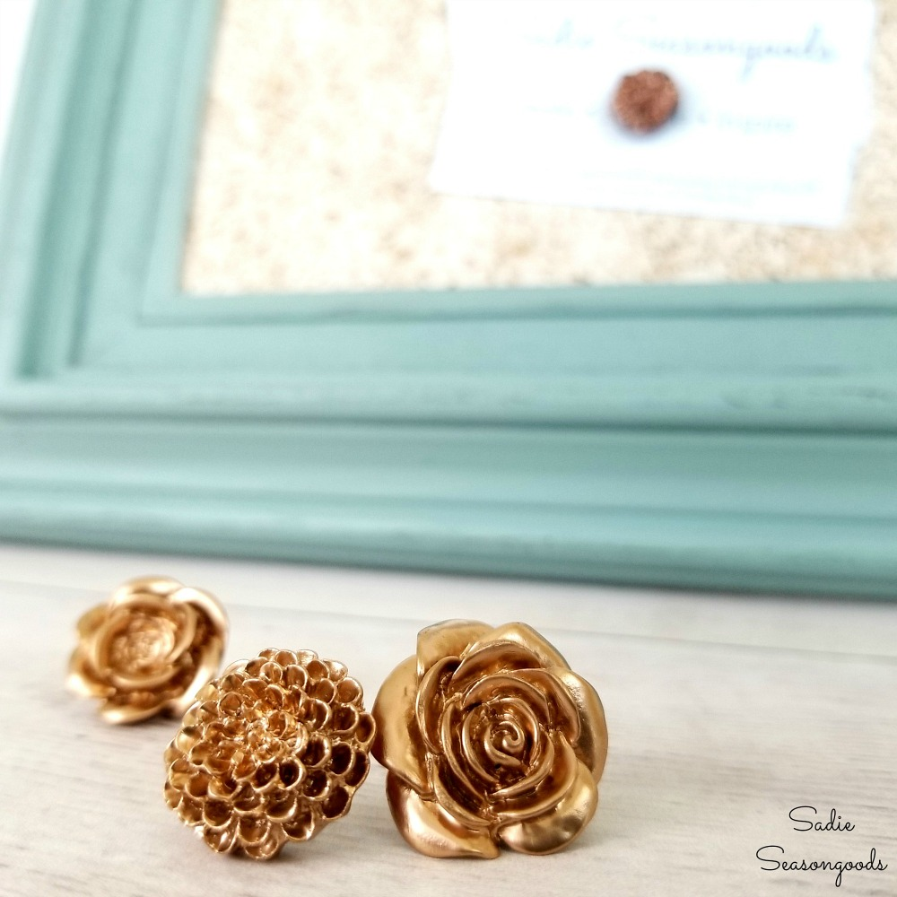 Cute office decor with decorative thumbtacks or cute push pins with copper paint and flowers by Sadie Seasongoods