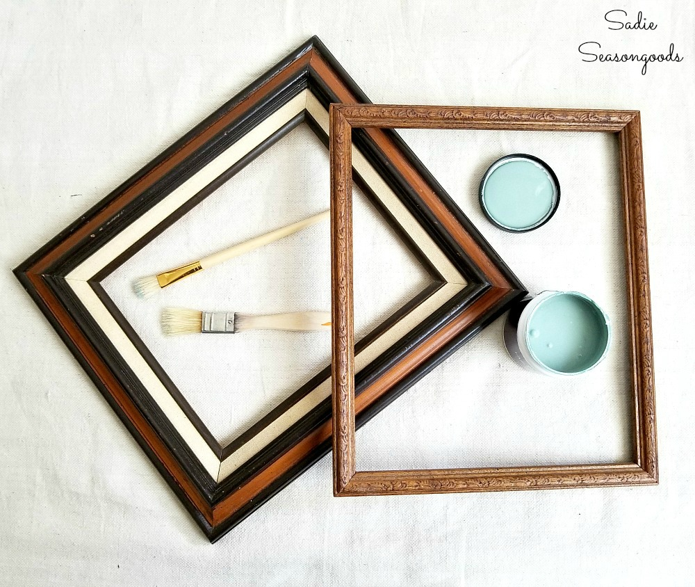 Cork board ideas by painting the wooden picture frames from the thrift store