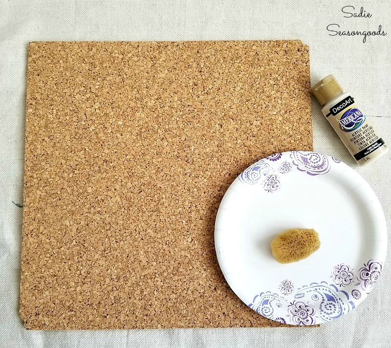 Cork board ideas for cute office decor by painting cork board with a sponge