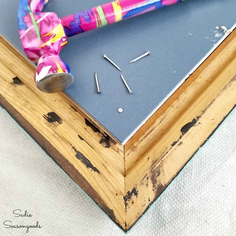 DIY cork board and framed cork board with picture frames from the thrift store