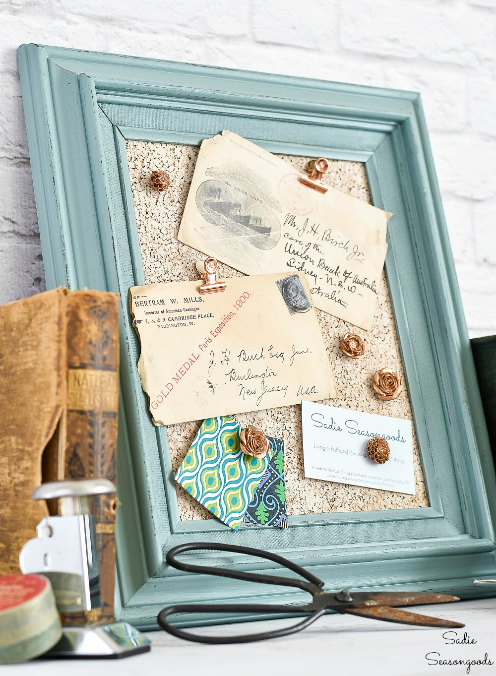 Decorative cork boards for home office decor with a picture frame and painted cork board