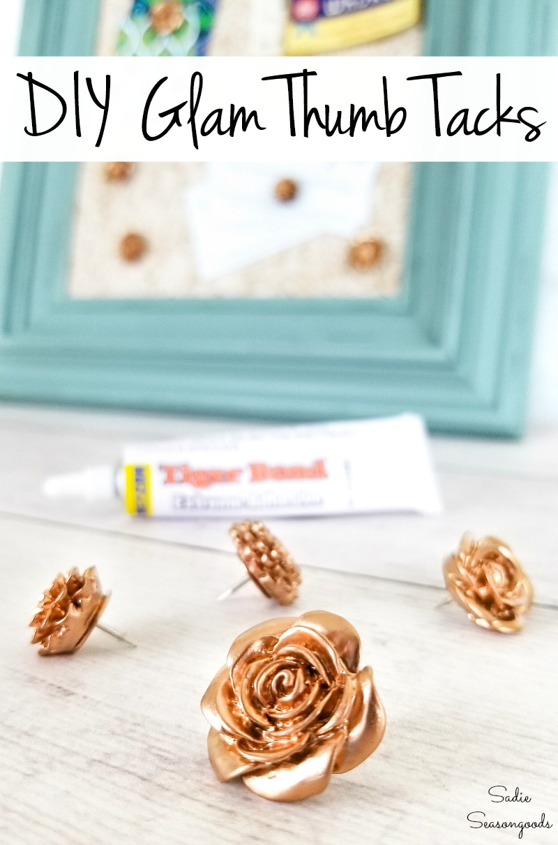 Glam office supplies with cute push pins