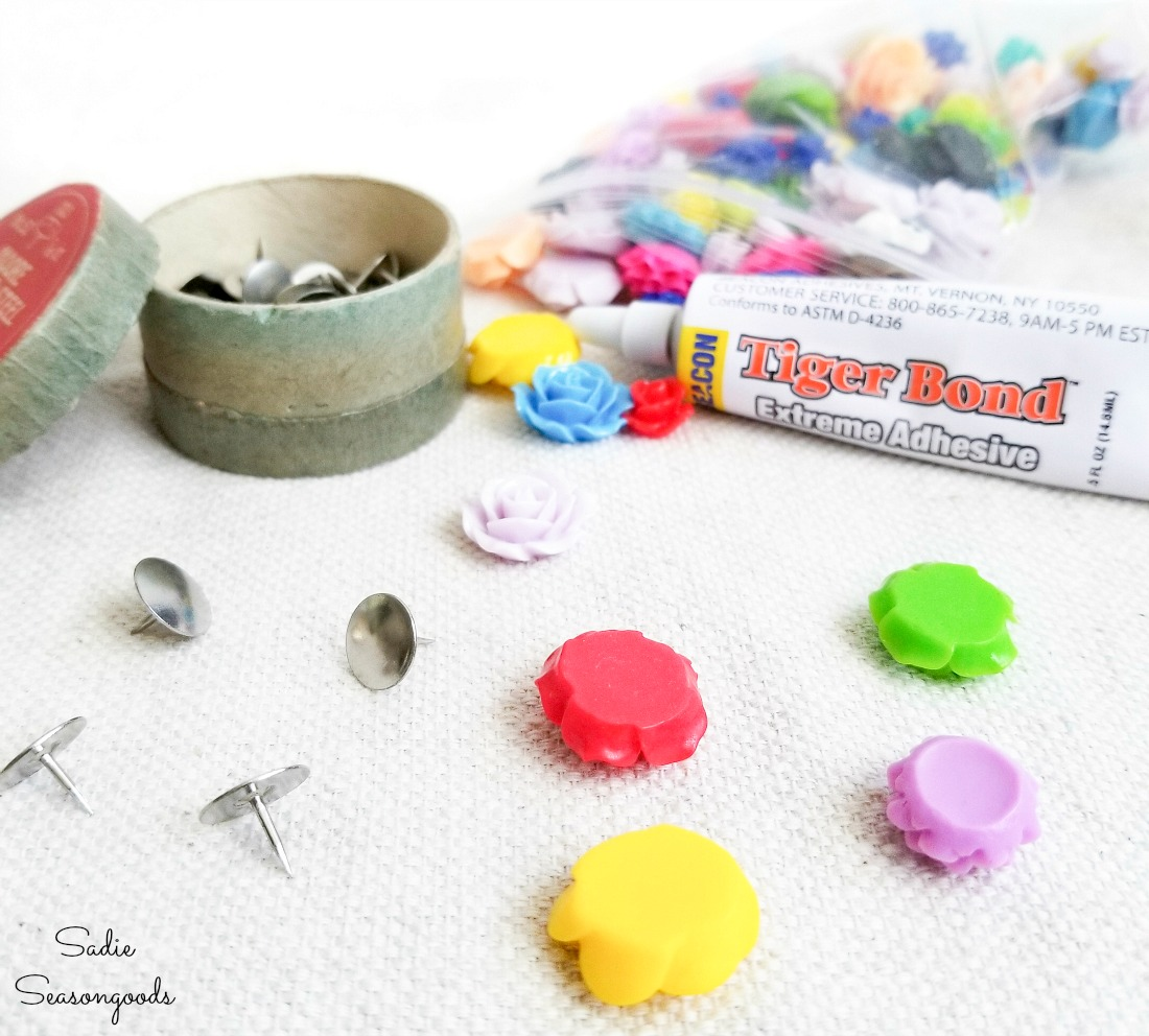 Making the decorative thumb tacks with resin flowers and non toxic glue