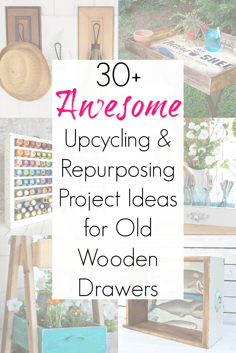 Upcycling Ideas for vintage dresser drawers or wooden drawers from old furniture
