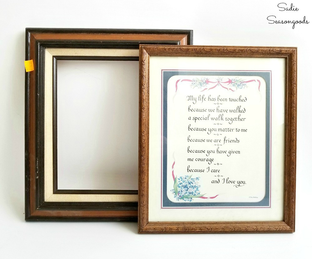 Upcycling ideas for wooden picture frames as decorative cork boards and cute office decor