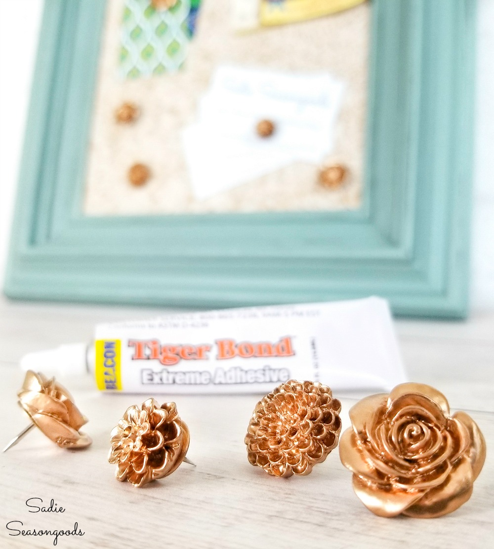 Using an eco friendly glue to make the decorative thumb tacks