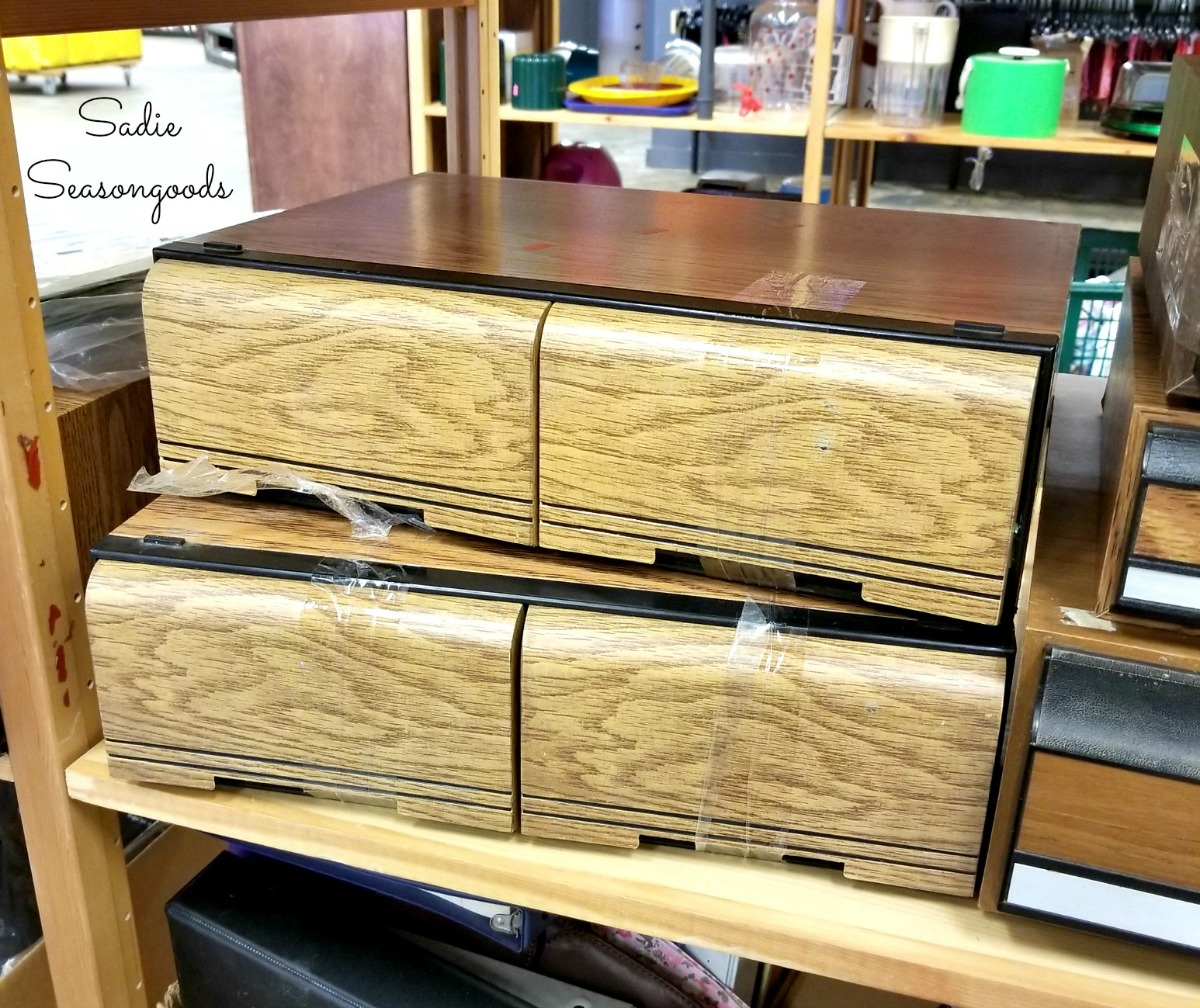 VHS tape drawers or tape holders at thrift store for upcycling idea that is rustic industrial by Sadie Seasongoods