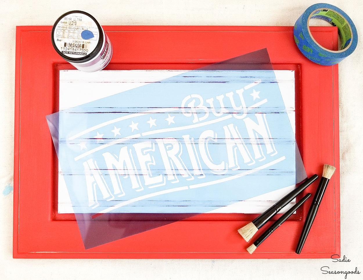 making a patriotic sign from a cabinet door