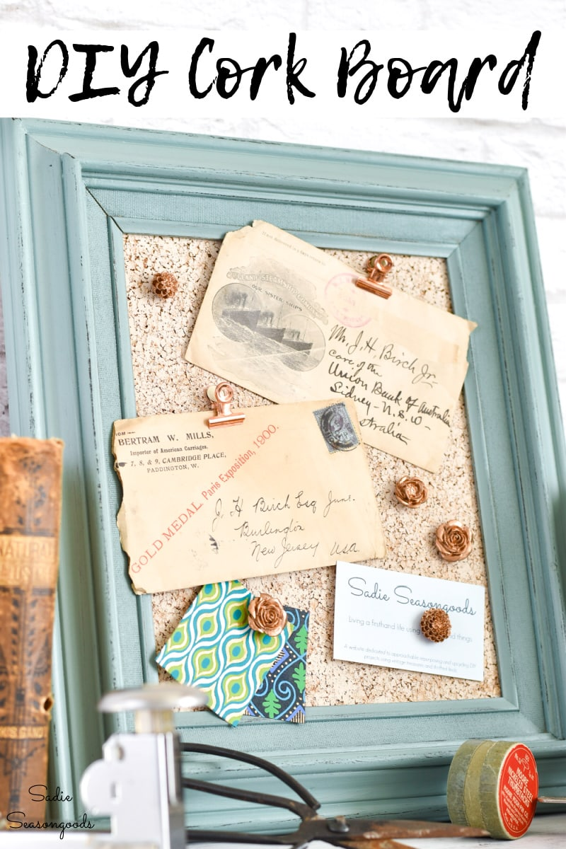 Upcycling a picture frame as a framed cork board