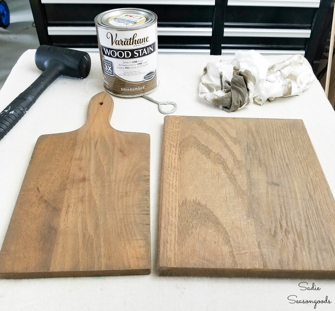 Briarsmoke wood stain on farmhouse kitchen accessories
