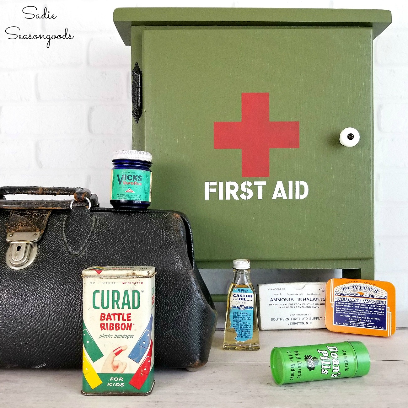 Military Decor and First Aid Cabinet for the Garage